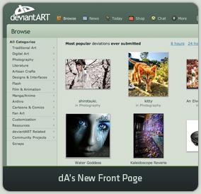 dA's New Front Page